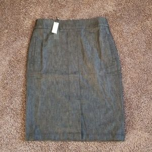 NEW Talbots Black Denim Pencil Skirt 8